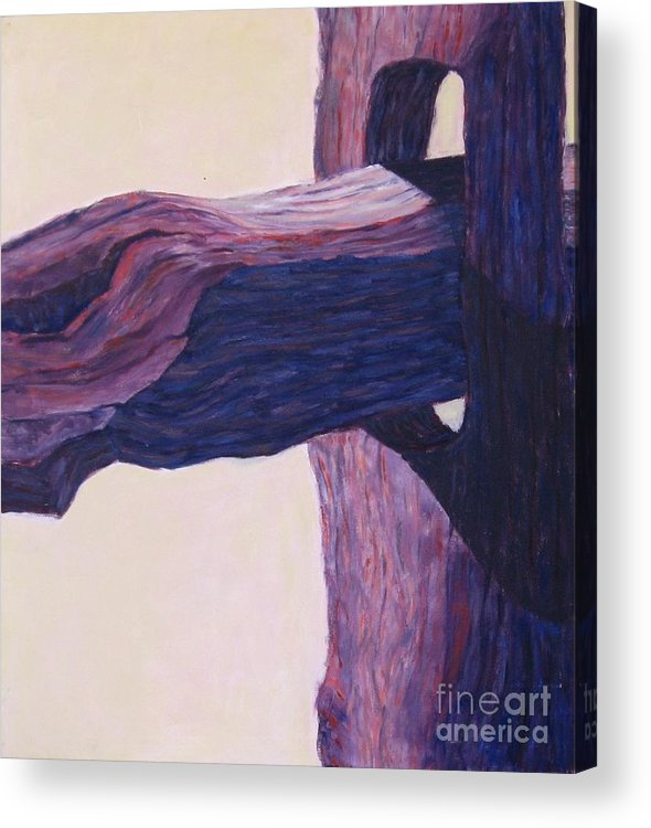 A Monochromatic Study Of A Wooden Fencepost Acrylic Print featuring the painting The Fencepost by Judith Espinoza