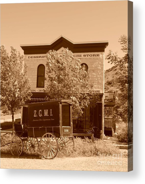 Sepia Acrylic Print featuring the photograph Zcmi Store And Delivery Wagon by Dennis Hammer