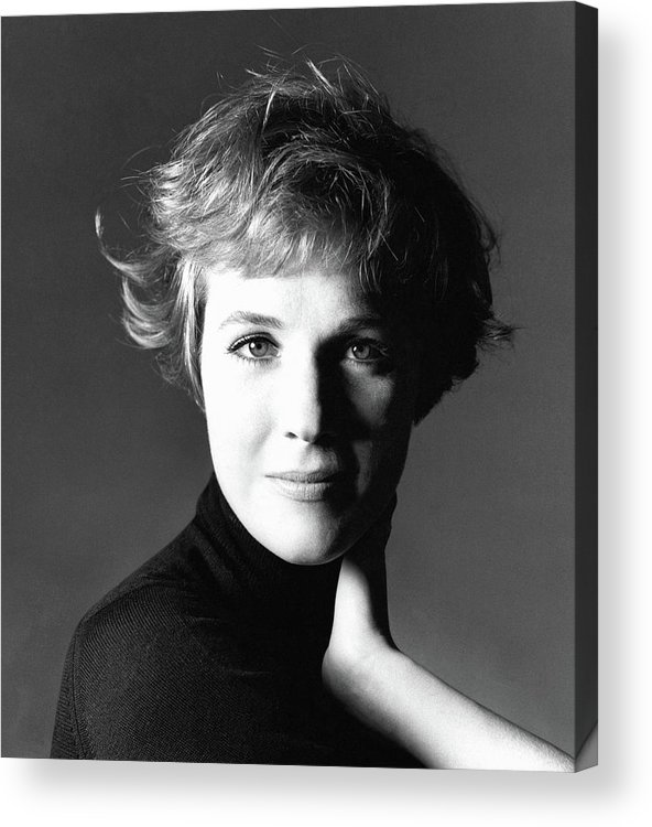 Personality Acrylic Print featuring the photograph Actress Julie Andrews Wearing A Black Turtleneck by Bert Stern