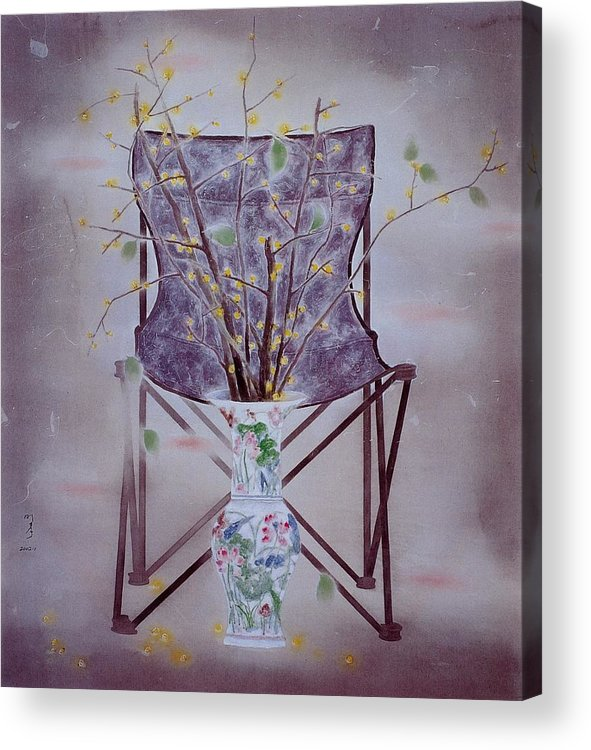 Flowers Painting Acrylic Print featuring the painting Flowers In Vase-tranquility by Minxiao Liu