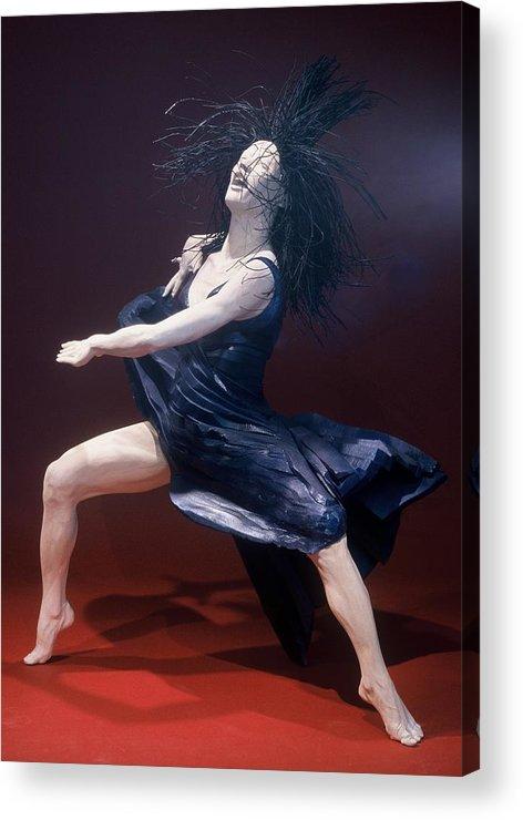 Dance Acrylic Print featuring the sculpture Blue Dancer Left View by Gordon Becker