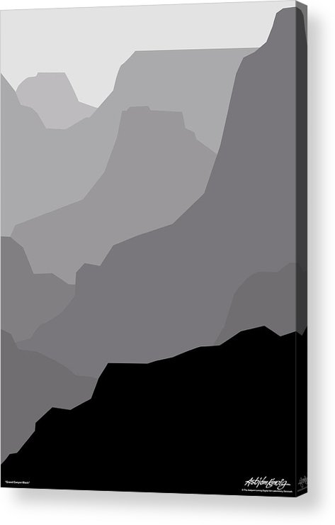 Grand Canyon Black Acrylic Print featuring the digital art Grand Canyon Black by Asbjorn Lonvig