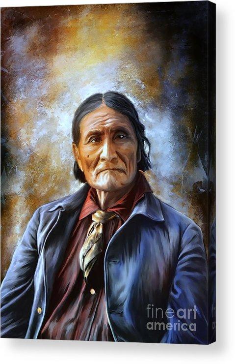 Art Acrylic Print featuring the painting Geronimo by Andrzej Szczerski