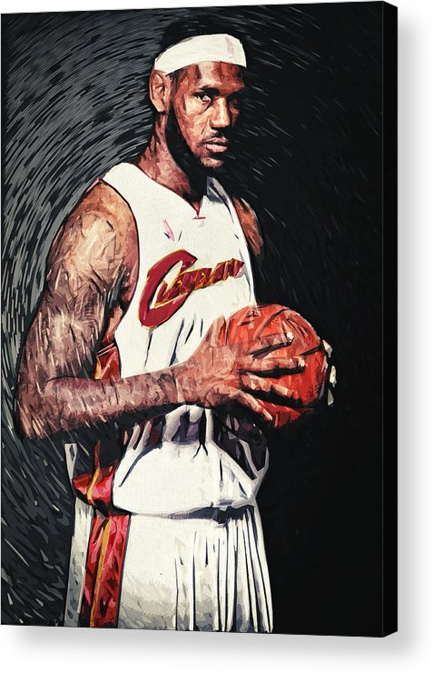 Lebron James Acrylic Print featuring the digital art Lebron James by Taylan Apukovska