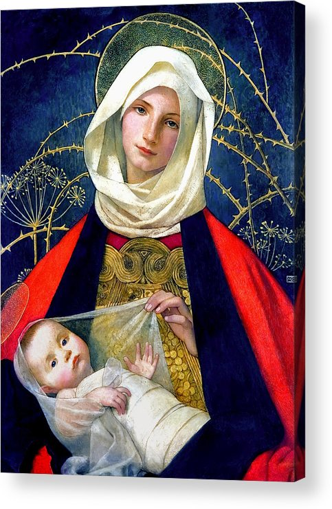 Madonna And Child Acrylic Print featuring the painting Madonna And Child by Marianne Stokes