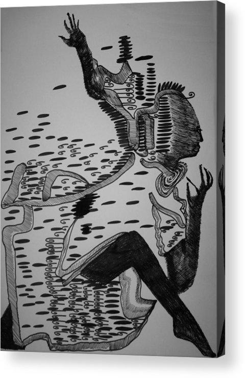 Jesus Acrylic Print featuring the drawing Mbakumba Dance - Zimbabwe by Gloria Ssali