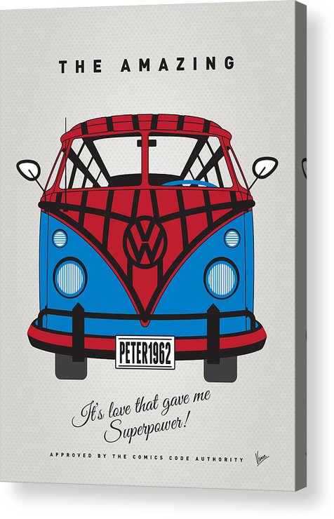 Superheroes Acrylic Print featuring the digital art My Superhero-vw-t1-spiderman by Chungkong Art