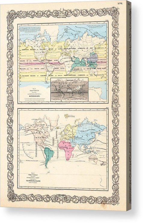 1855 Acrylic Print featuring the photograph 1855 Antique World Maps Illustrating Principal Features Of Meteorology Rain And Principal Plants by Karon Melillo DeVega