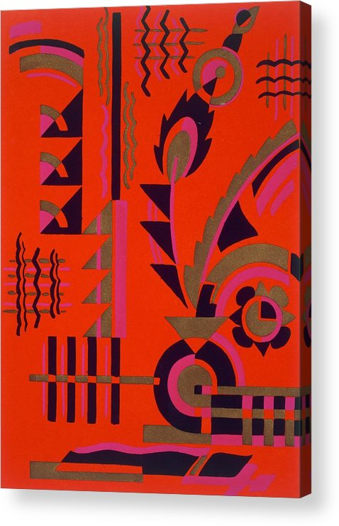 Motif Acrylic Print featuring the painting Design From Nouvelles Compositions Decoratives by Serge Gladky