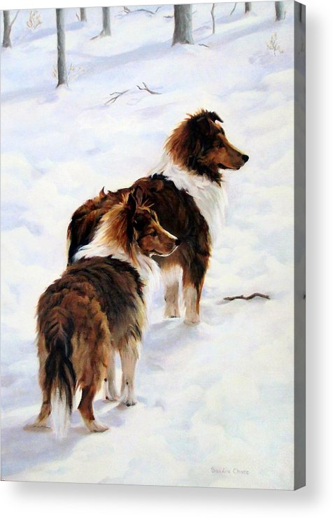 Dog Acrylic Print featuring the painting The Little Sentinels by Sandra Chase