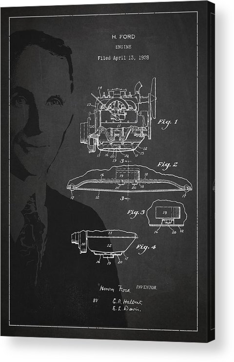 Henry Ford Acrylic Print featuring the drawing Henry Ford Engine Patent Drawing From 1928 by Aged Pixel