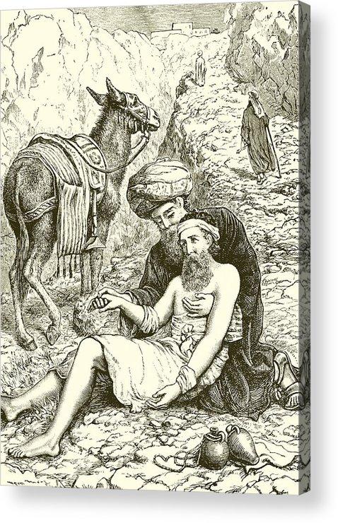Bible Acrylic Print featuring the drawing The Good Samaritan by English School