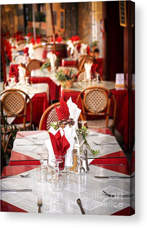 Restaurant Acrylic Print featuring the photograph Restaurant Patio In France by Elena Elisseeva