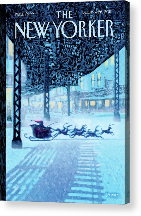 Santa Acrylic Print featuring the painting New Yorker December 19th, 2011 by Eric Drooker