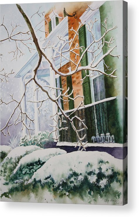 Snow Scene Landscape Acrylic Print featuring the painting A Blanket Of Snow by Patsy Sharpe