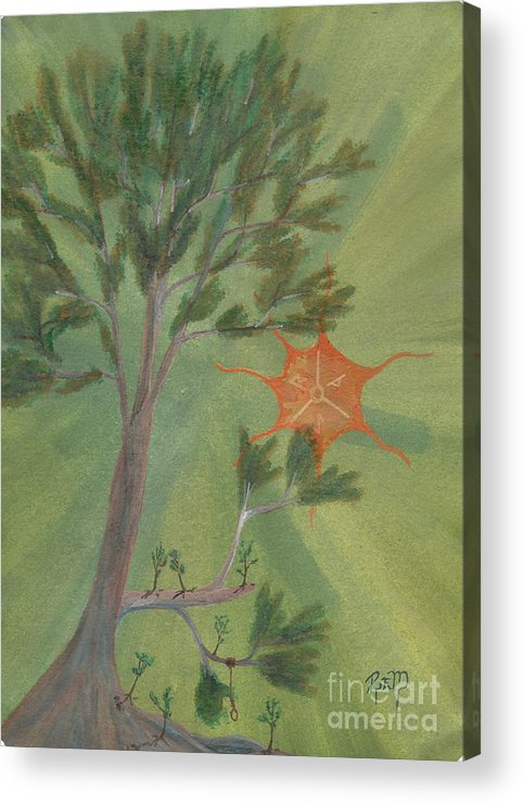 Watercolor Acrylic Print featuring the painting A Great Tree Grows by Robert Meszaros