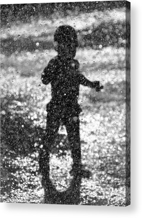 Pool Acrylic Print featuring the photograph A Walk Through The Sprinkler by Charles Feagans