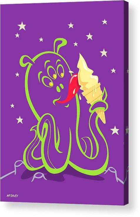 Alien Planet Acrylic Print featuring the digital art Alien Ice Cream -vector Version by Martin Davey