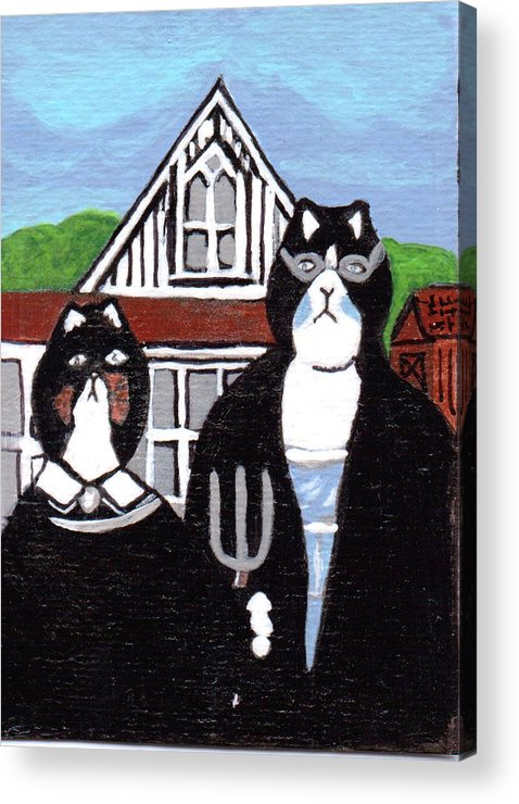 Cat Art Acrylic Print featuring the painting American Cat Gothic by Arleen McCann
