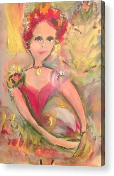 Dance Acrylic Print featuring the painting Ballerina For Christmas by Judith Desrosiers