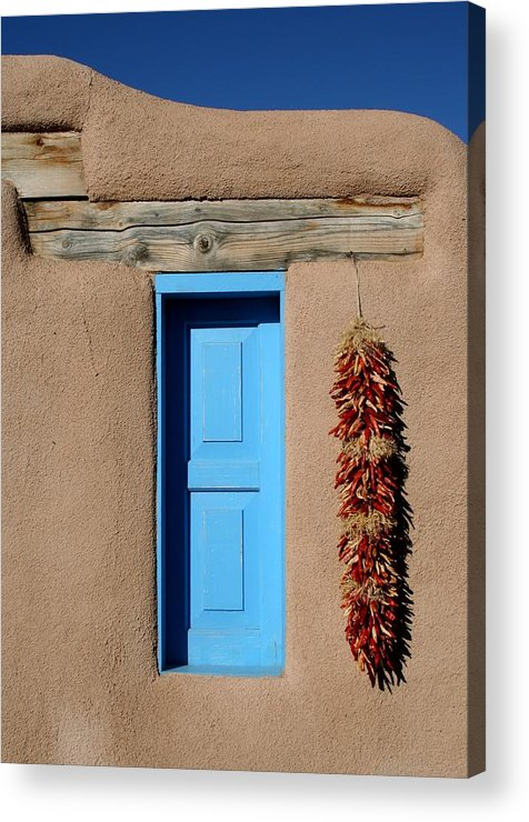 Taos Acrylic Print featuring the photograph Blue Window Of Taos by Heidi Hermes