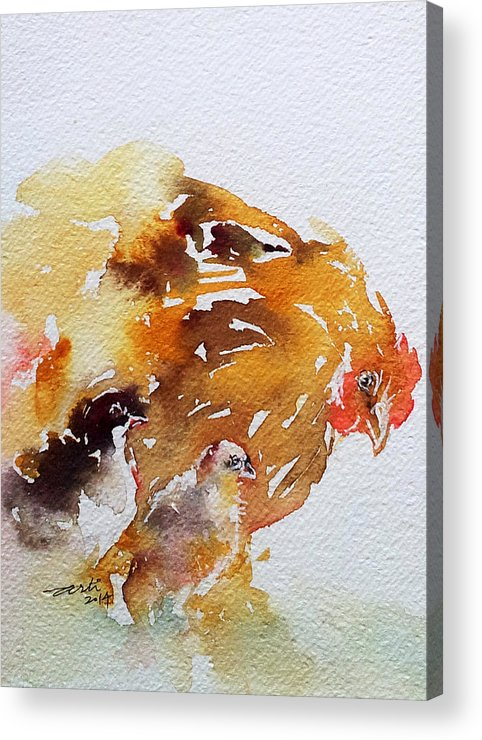 Mother Hen Acrylic Print featuring the painting Breakfast Time by Arti Chauhan