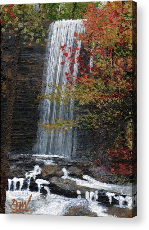 Acrylic Acrylic Print featuring the painting Bridal Veil Falls by Bill Brown