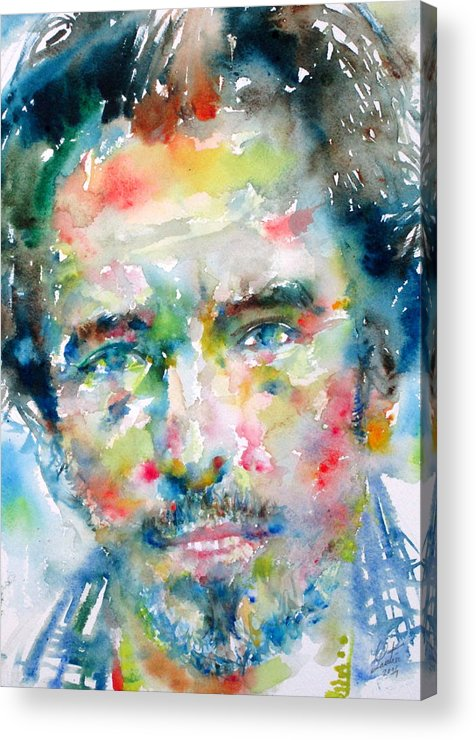 Bruce Acrylic Print featuring the painting Bruce Springsteen Watercolor Portrait.1 by Fabrizio Cassetta