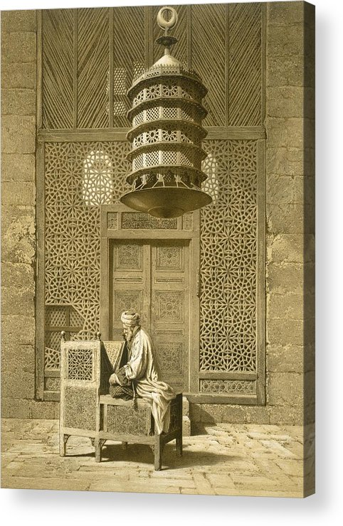 Islamic Acrylic Print featuring the painting Cairo Funerary Or Sepuchral Mosque by Emile Prisse d'Avennes