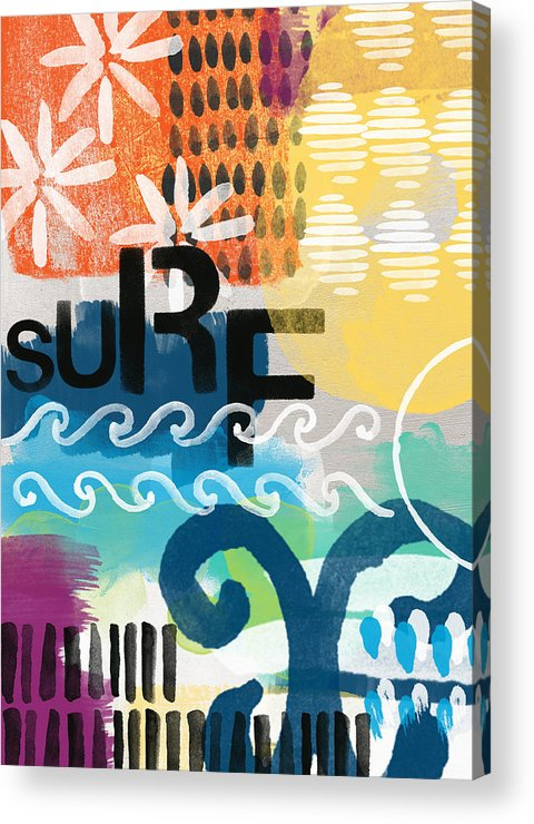 Surf Acrylic Print featuring the painting Carousel #7 Surf - Contemporary Abstract Art by Linda Woods