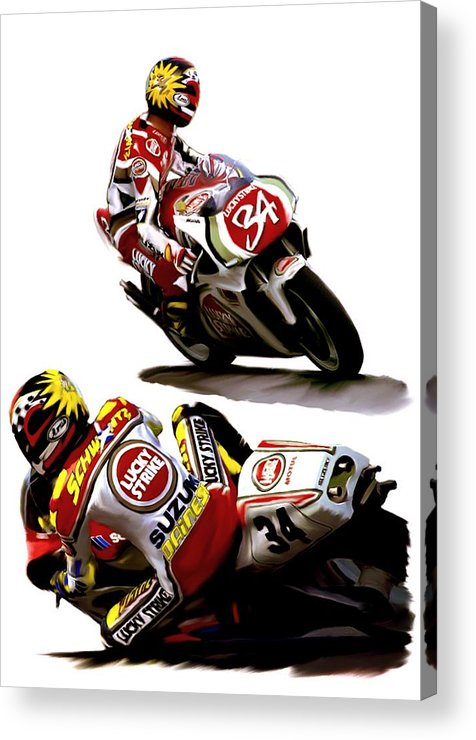 Kevin Schwantz Acrylic Print featuring the painting Champion 34 Kevin Schwantz by Iconic Images Art Gallery David Pucciarelli