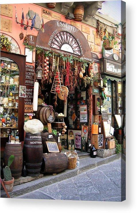 Sicily Acrylic Print featuring the photograph Cheese Salami And Wine by Caroline Stella
