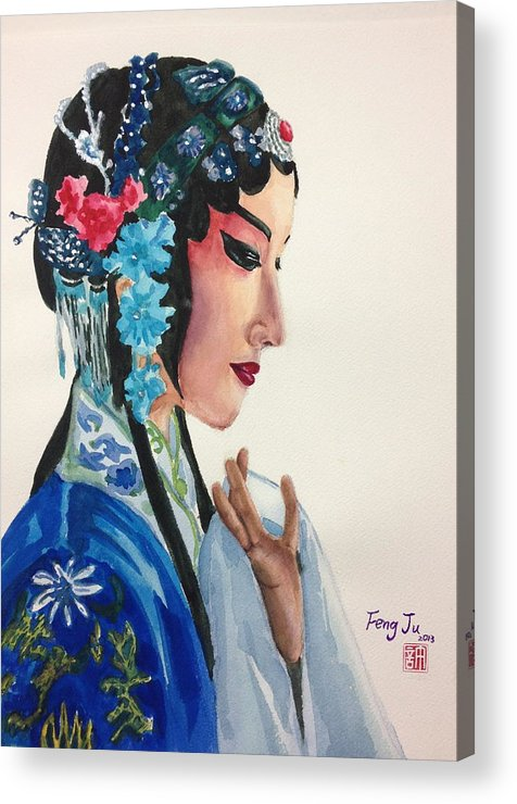 Chinese Art Acrylic Print featuring the painting Chinese Traditional Beauty by Feng Ju Hsu