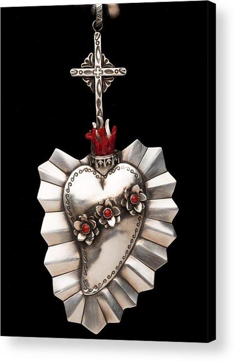 Santa Fe Acrylic Print featuring the jewelry Corazon De Amor Y Fe by Gregory Segura