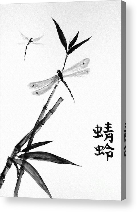 Sumi-e Acrylic Print featuring the painting Dragonfly by Sibby S