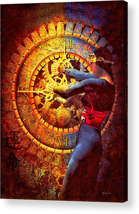 Clock Acrylic Print featuring the digital art Fifteen Minutes by Bob Orsillo