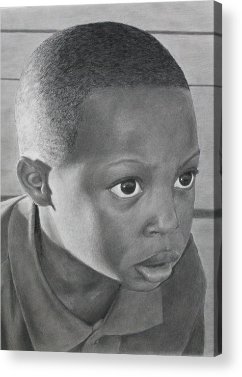 Youth Acrylic Print featuring the drawing Focus by Charles Anderson