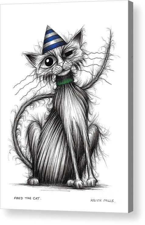 Fred Acrylic Print featuring the drawing Fred The Cat by Keith Mills