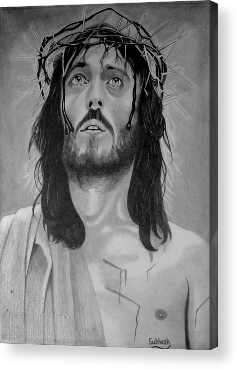 Jesus Of Nazareth Acrylic Print featuring the drawing Jesus Of Nazareth by Subhash Mathew