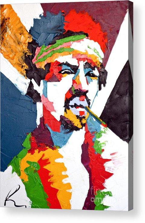 Jimi Hendrix Paintings Acrylic Print featuring the painting Jimi Hendrix by Edgar Rafael