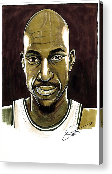 Kevin Garnett Acrylic Print featuring the drawing Kevin Garnett Portrait by Dave Olsen