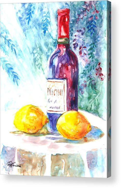 Wine Acrylic Print featuring the painting Lemons And Wine And A Little Sunshine by Carol Wisniewski