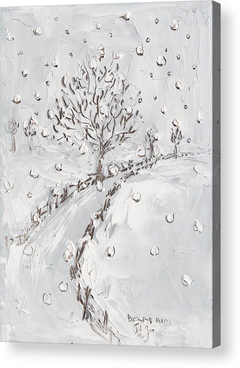 Snow Acrylic Print featuring the painting Let It Snow by Becky Kim