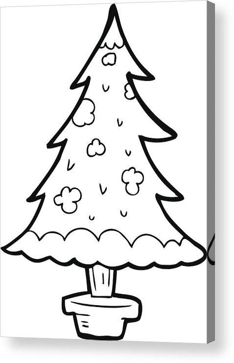 Line Drawing Cartoon Christmas Tree Acrylic Print By Lineartestpilot