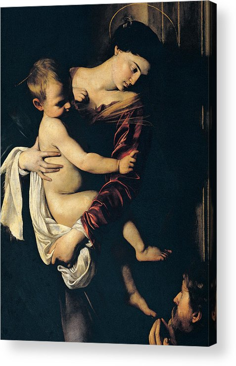 Madonna And Child Acrylic Print featuring the painting Madonna Di Loreto by Caravaggio