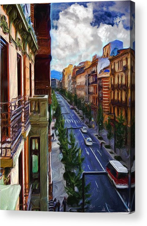 Madrid Acrylic Print featuring the digital art Madrid Morning by Cary Shapiro