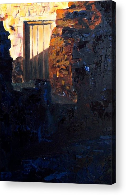 Mission Acrylic Print featuring the painting Mission Door At Sunset by Scott Alcorn