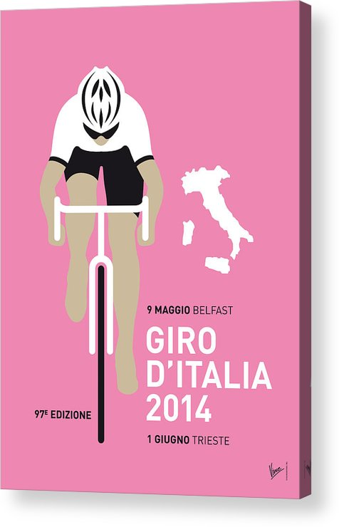 Minimal Acrylic Print featuring the digital art My Giro D Italia Minimal Poster 2014 by Chungkong Art