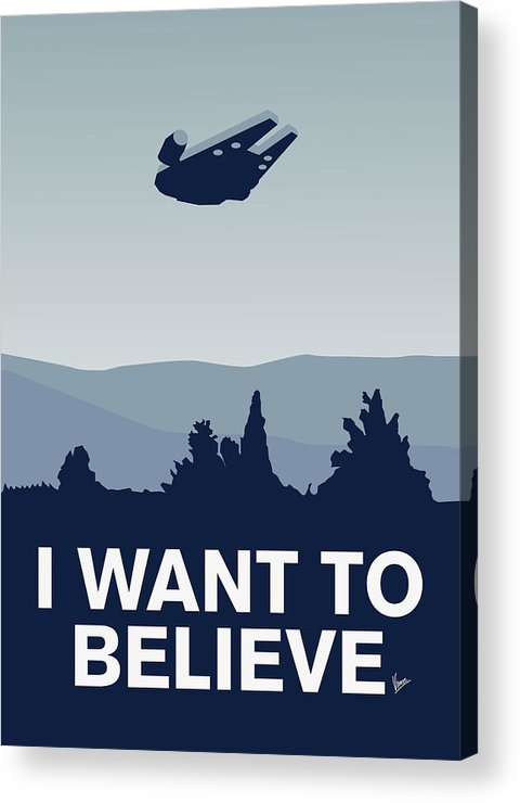 Classic Acrylic Print featuring the digital art My I Want To Believe Minimal Poster-millennium Falcon by Chungkong Art