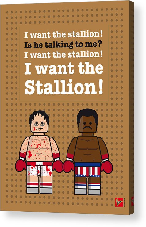Rocky Acrylic Print featuring the digital art My Rocky Lego Dialogue Poster by Chungkong Art